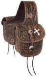 Tough 1 Antique Tooled Leather Saddle Bag