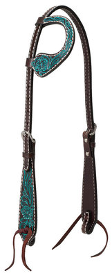 Turquoise Cross Carved Flower Sliding Ear Headstall