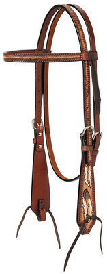 Turquoise Cross Coco Feather Browband Headstall