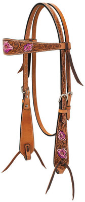 Turquoise Cross Floral & Hand Painted Browband Headstall