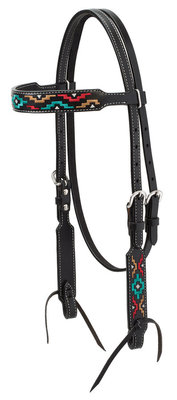 Turquoise Cross Multicolor Embroidered Browband Headstall