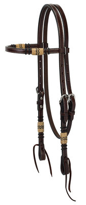 Turquoise Cross Rawhide Browband Headstall