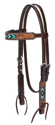 Turquoise Cross Two Toned Browband Headstall