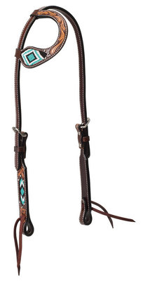 Turquoise Cross Two Toned Sliding Ear Headstall