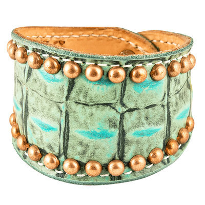 Turquoise Gator Cuff with Brass Spots