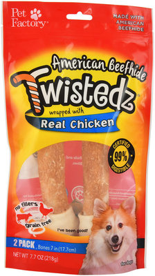 "Twistedz Large (7"") Beefhide Bone Wrapped with Real Meat, 2-pk"