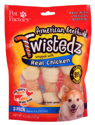 Twistedz American Beefhide Bone with Real Meat Wrap