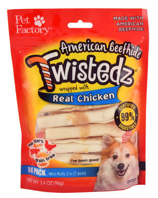 Twistedz American Beefhide Mini Rolls with Real Meat Wrap
