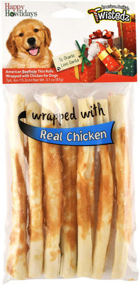 """Twistedz 6"""" Beefhide Thin Rolls Wrapped with Real Meat, 7-Pk"""