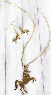 Unicorn Pendant Necklace & Earring Set, Gold