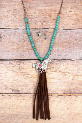 Vintage Bouquet Blue Horse Tassel Necklace & Earring Set