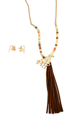 Vintage Flowers White Horse Tassel Beaded Necklace & Earring Set