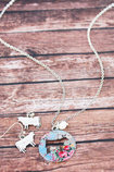 Vintage Rose Garden Cut-out Cow Silverstone Necklace & Earring Set