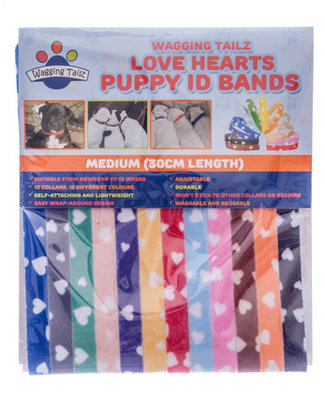 "12"" Love Hearts Puppy Id Bands, 12 pack"