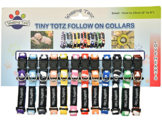 Wagging Tailz Tiny Totz Follow On Collars, Love Hearts