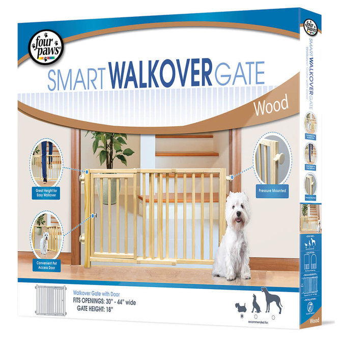 Four Paws Walkover Wood Gate With Door Jeffers Pet