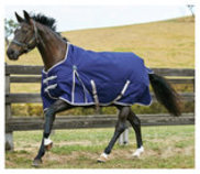 WeatherBeeta ComFiTec Essential Standard Neck Horse Blanket, 220g Navy/Silver/Red