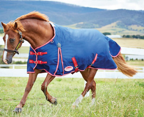 WeatherBeeta Original Pony 1200D Std Neck, Medium, Pony Navy/Red