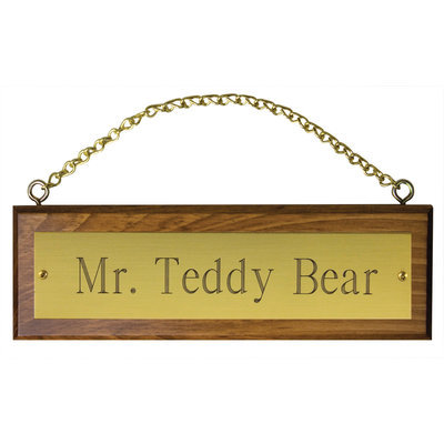 Wooden Stall Sign with Chain