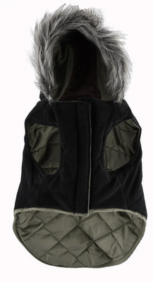 Faux Leather Detail Coat, Olive