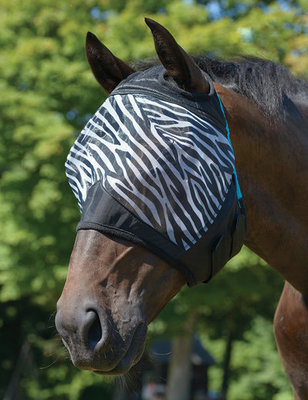 Zebra Print Fly Mask without Ears