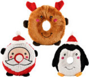 Zippy Paws Christmas Donutz Buddies Dog Toys, 3-pack