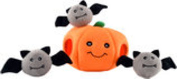 Zippy Paws Halloween Pumpkin Burrow Plush Puzzle Toy