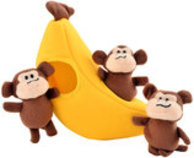 Zippy Paws Monkey's 'n Banana Burrow Plush Toy