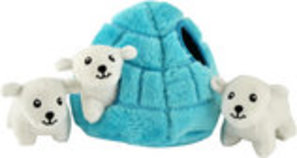 Zippy Paws Polar Bear Igloo Burrow Plush Puzzle Toy